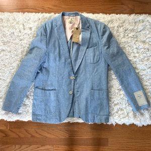 NWT Scotch and Soda Blue Cotton Linen Blazer XL 52